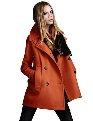 billige Ytterklær til damer i plusstørrelse-Dame Daglig Høst vinter Normal Faux Fur Coat, Ensfarget Rett Krage Langermet Polyester Svart / Oransje / Kamel