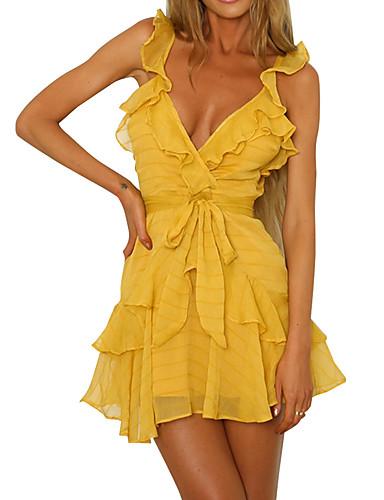 Kadın's A Şekilli Elbise - Solid Diz-boyu