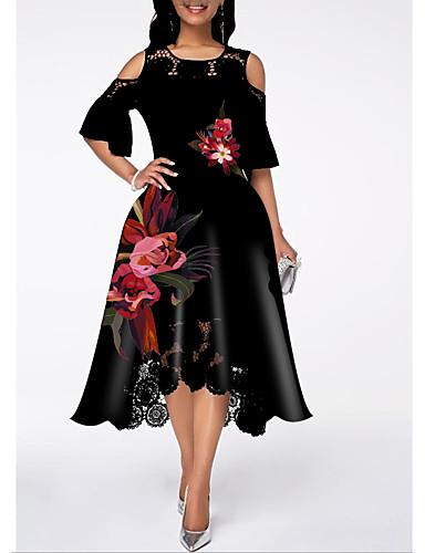 billige Kjoler med trykk-Dame Gatemote A-linje Kjole - Blomstret, Blonde Drapering Midi