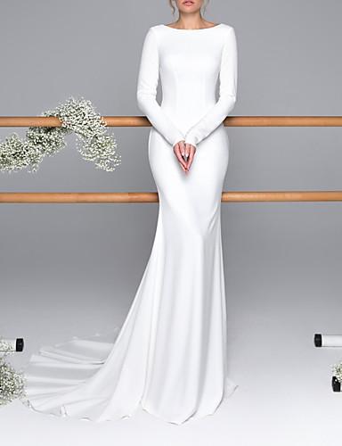 billige Bryllupskjoler 2019-Havfrue Bateau Neck Svøpeslep Sateng Made-To-Measure Brudekjoler med Knapper av LAN TING Express