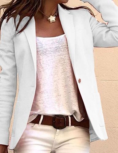 billige Ytterklær til damer-Dame Blazer, Ensfarget Hakkjakkeslag Polyester Svart / Hvit / Rosa