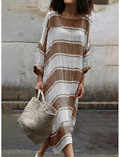 billige Kjoler-Dame Skjede Kjole - Stripet Maksi