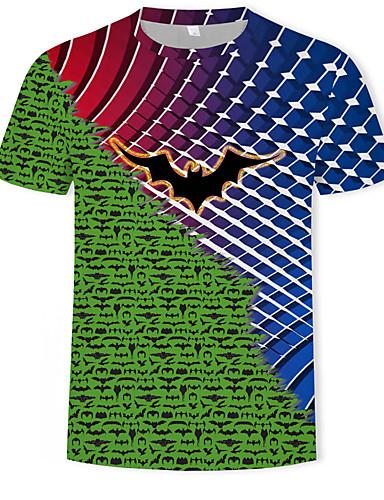halpa Miesten t-paidat ja hihattomat paidat-Miesten Painettu Geometrinen / Color Block / 3D Perus / Katutyyli T-paita Apila