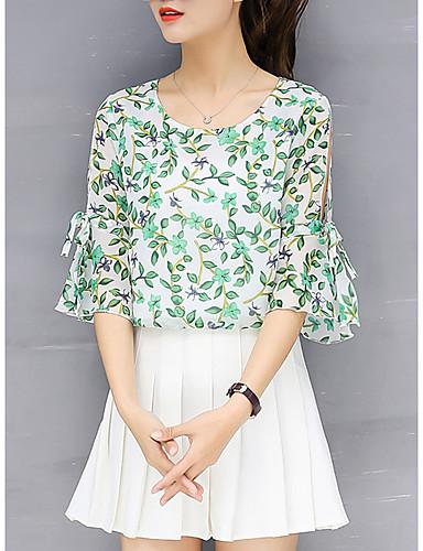 billige Dametopper-T-skjorte Dame - Blomstret, Utskjæring / Drapering / Trykt mønster Gatemote Grønn