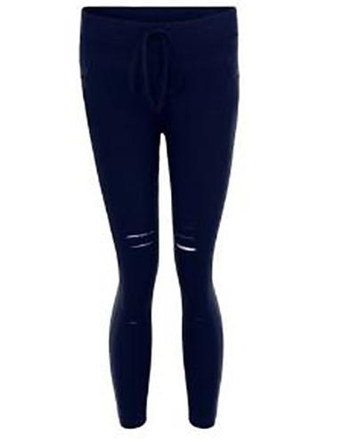 abordables Pantalons Femme-Femme Chic de Rue Mince Pantalon - Couleur Pleine Troué Noir Vin Blanche S M L