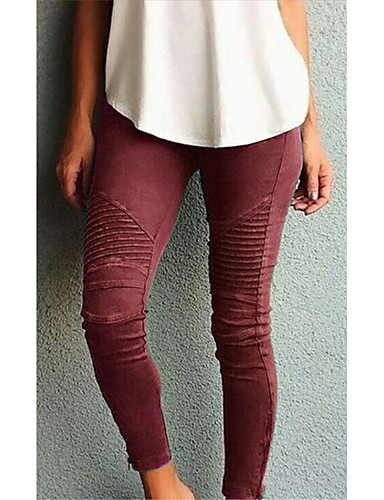 abordables Pantalons Femme-Femme Basique Mince Pantalon - Couleur Pleine Taille haute Vin Vert Véronèse Kaki XXXL XXXXL XXXXXL