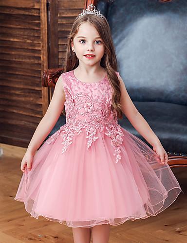 Çocuklar Genç Kız Actif Tatlı Solid Çiçekli Nakış Kolsuz Diz-boyu Elbise Doğal Pembe
