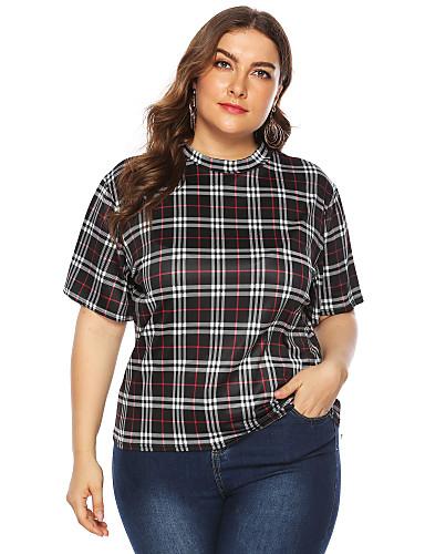 billige Dametopper-T-skjorte Dame - Rutet Grunnleggende Svart
