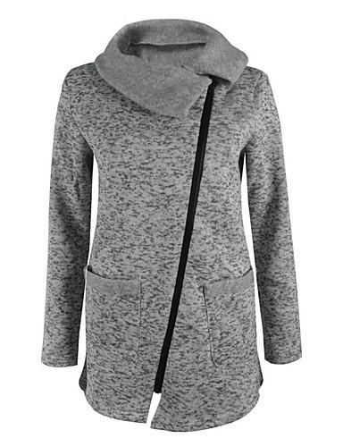 billige Ytterklær til damer-Dame Daglig Normal Jakke, Ensfarget Rullekrage Langermet Polyester Grå S / M / L