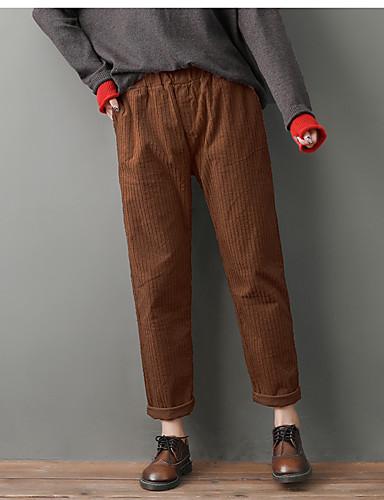 abordables Pantalons Femme-Femme Basique Grandes Tailles Ample Sarouel Pantalon - Couleur Pleine Mosaïque Coton Marron Gris Foncé Beige XXXL XXXXL XXXXXL