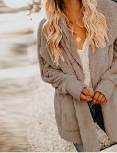 abordables Manteaux & Vestes Femme-Femme Anniversaire Automne hiver Longue Manteau, Couleur Pleine Capuche Manches Longues Polyester Kaki