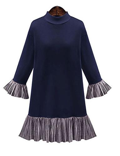 abordables Robes Femme-Femme Sophistiqué Au dessus du genou Courte Robe - Plissé Mosaïque, Couleur Pleine Noir Bleu M L XL Manches Longues