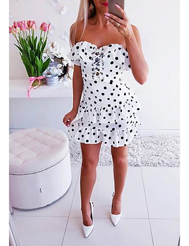 abordables Robes Femme-Femme Basique Mini Moulante Gaine Patineuse Robe - Dos Nu Multirang A Volants, Points Polka Blanc Blanche S M L Sans Manches
