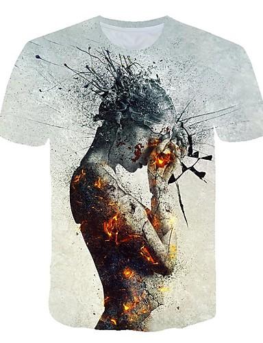 Erkek Tişört Desen, Zıt Renkli / 3D / Karton Sokak Şıklığı / Abartılı Açık Gri