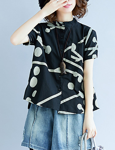 billige Dametopper-Skjorte Dame - Geometrisk, Trykt mønster Elegant Tusenfryd Svart