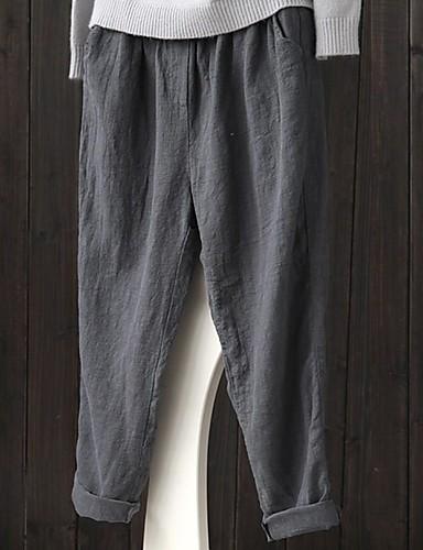 abordables Pantalons Femme-Femme Basique Sarouel Pantalon - Couleur Pleine Noir Bleu Marine Gris XL XXL XXXL
