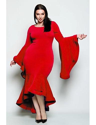 voordelige Grote maten jurken-Dames Street chic Elegant Schede Trompet / zeemeermin Jurk - Effen, Ruche Patchwork Maxi Zwart grijs Zwart Rood