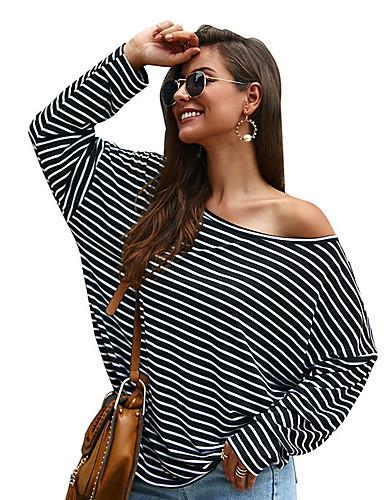 abordables Hauts pour Femme-Tee-shirt Femme, Rayé Imprimé Noir