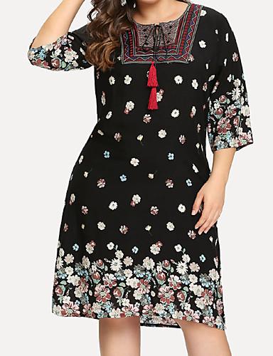 abordables Robes Femme-Femme Basique Mi-long Gaine Robe Géométrique Noir XL XXL XXXL Manches 3/4