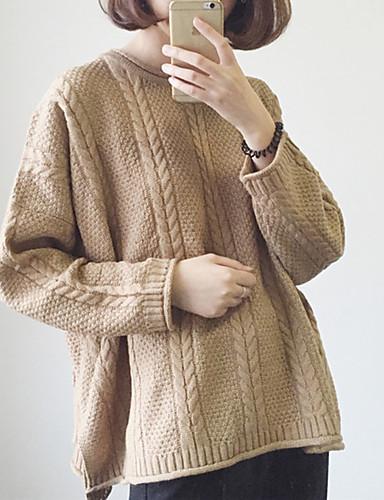 abordables Hauts pour Femmes-Femme Couleur Pleine Manches Longues Pullover, Col Arrondi Automne / Hiver Vert Véronèse / Beige / Kaki Taille unique