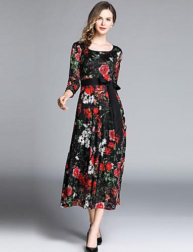 billige Kjoler-Dame Elegant A-linje Kjole - Blomstret, Sløyfe Maksi Rose
