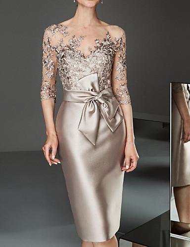 voordelige Maxi-jurken-Dames Elegant Kant Slank Bodycon Jurk - Effen Boothals Tot de knie
