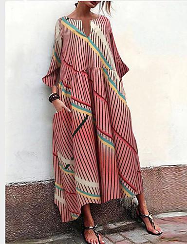 voordelige Maxi-jurken-Dames Boho Wijd uitlopend Jurk - Regenboog, Met ruches Patchwork Print Maxi