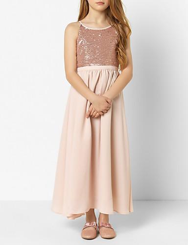 Djeca Djevojčice slatko Jednobojni Šljokice Bez rukávů Maxi Haljina Blushing Pink / Pamuk