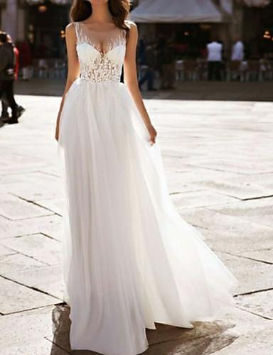 abordables Robes de Mariée 2019-Trapèze Bijoux Longueur Sol Dentelle / Tulle Robes de mariée sur mesure avec Insert de Dentelle par LAN TING Express