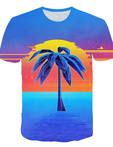 Erkek Tişört Desen, Zıt Renkli / 3D / Karton Sokak Şıklığı / Abartılı Gökküşağı