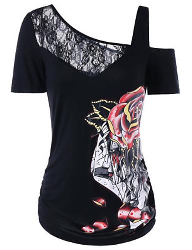 Kadın's Tişört Desen, Çiçekli Siyah