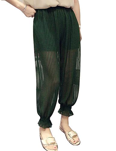 billige Tights til damer-Dame Grunnleggende / Gatemote Løstsittende Chinos / Bloomers Bukser - Ensfarget Grønn Hvit Svart En Størrelse