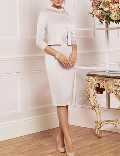 voordelige Korte jurken-Strak / kolom Queen Anne Tot de knie Satijn Bruidsmoederjurken met Appliqués / Kristaldetails door LAN TING Express