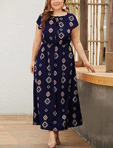 voordelige Grote maten jurken-Dames Street chic Elegant A-lijn Schede Wijd uitlopend Jurk - Geometrisch, Veters Print Maxi