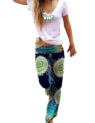 abordables Pantalons Femme-Femme Bohème Ample Ample Pantalon - Imprimé Imprimé Arc-en-ciel S M L