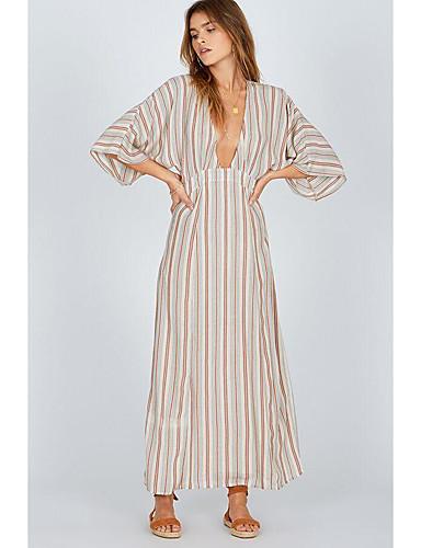 voordelige Maxi-jurken-Dames Standaard A-lijn Jurk - Gestreept Kleurenblok, Patchwork Print Maxi
