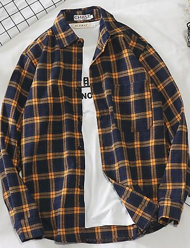 voordelige Herenoverhemden-Heren Standaard Overhemd Blokken Geel