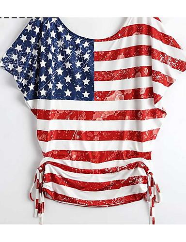 abordables Hauts pour Femme-Tee-shirt Femme, Drapeau National Imprimé Rétro Vintage Rouge