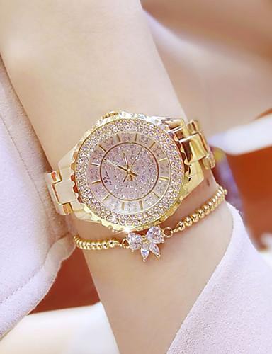 baratos Relógios de Pulseira-Mulheres Relógios Luxuosos Relógio Casual Bracele Relógio Quartzo Aço Inoxidável Prata / Dourada Impermeável Criativo Luminoso Analógico senhoras Amuleto Luxo Casual Rígida - Dourado Prata Um ano