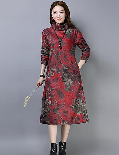 abordables Robes Femme-Femme Basique Midi Courte Robe - Imprimé, Géométrique Vin Fuchsia Bleu M L XL Manches Longues