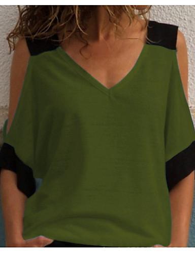 billige Dametopper-T-skjorte Dame - Fargeblokk Punk & Gotisk Svart & Rød / Svart og hvit Hvit