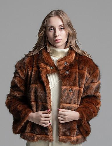 abordables Manteaux & Vestes Femme-Femme Quotidien Normal Manteau de fausse fourrure, Couleur Pleine Mao Manches Longues Fausse Fourrure Marron
