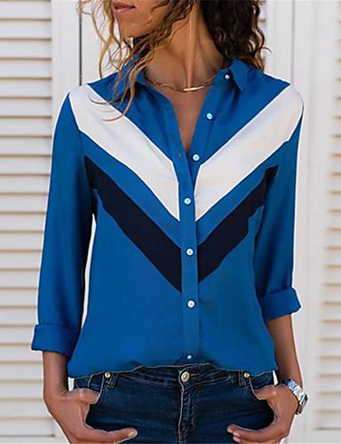 billige Dametopper-Skjorte Dame - Fargeblokk, Lapper Grunnleggende BLå & Hvit / Svart & Rød / Svart og hvit Lyseblå