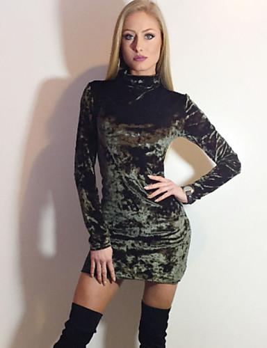 abordables Robes Femme-Femme Au dessus du genou Moulante Robe Géométrique Noir Rose Claire Vert Véronèse S M L Manches Longues