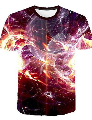 Erkek Tişört Desen, Zıt Renkli / 3D / Grafik Sokak Şıklığı / Abartılı Fuşya
