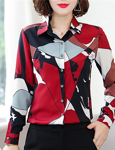 povoljno Majica-Majica Žene - Kinezerije Dnevno / Rad Color block Print Red