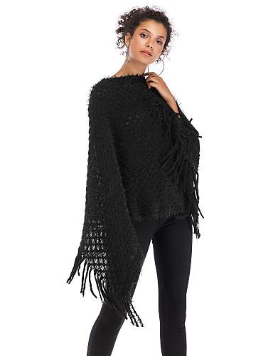 abordables Hauts pour Femmes-Femme Pied-de-poule Manches Longues Pullover, Bateau Automne Noir / Blanche / Rouge Taille unique