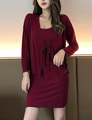 abordables Robes Femme-Femme Rétro Vintage Mini Moulante Gaine Deux Pièces Robe Couleur Pleine Vin S M L Manches Longues