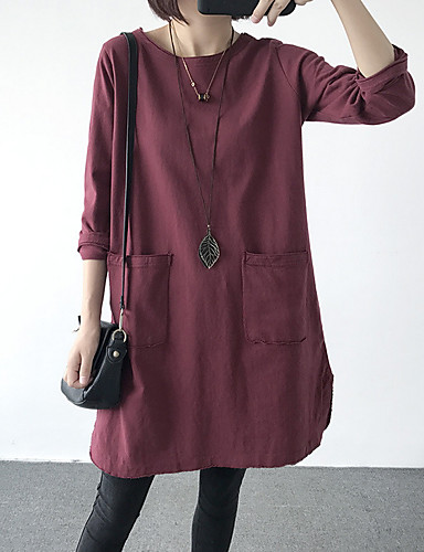 abordables Hauts pour Femme-Tee-shirt Femme, Couleur Pleine Basique Noir