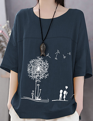 billige Dametopper-T-skjorte Dame - Blomstret / Grafisk Hvit
